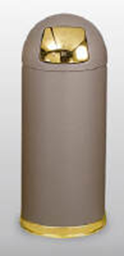 Rubbermaid FGR1536SBBRGL 15-gal Round Crowne Waste Receptacle - Galvanized Liner, Textured Gray/Chrome