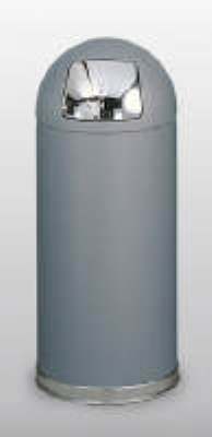 Rubbermaid FGR1536SCGRGL 15-gal Round Crowne Waste Receptacle - Galvanized Liner,