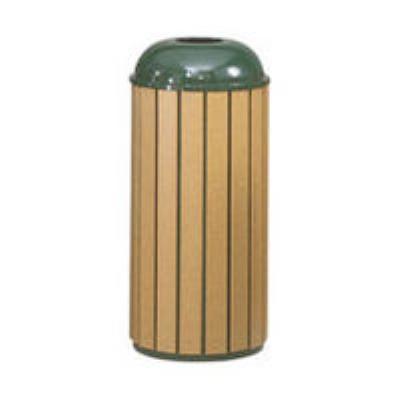 Rubbermaid FGR25T50PLEGN 15-gal Regent 50 Waste Receptacle - Open Dome Top, Plastic Liner, Cedar/Green
