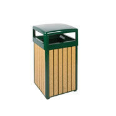 Rubbermaid FGR34HT50PLEGN 29-gal Regent 50 Waste Receptacle - Open Dome Top, Plas