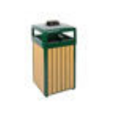 Rubbermaid FGR34HTWU50PLEGN 29-gal Regent 50 Waste Receptacle - Hinged Top, Plastic