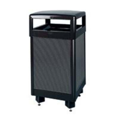 Rubbermaid FGR36HTSBKPL 29-gal Aspen Waste Receptacle - Hinged Top, Plastic Liner, Black