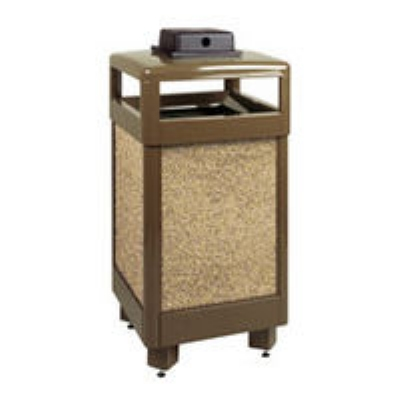 Rubbermaid FGR36HTWU201PL 29-gal Aspen Waste Receptacle - Hinged Top, Desert Brow