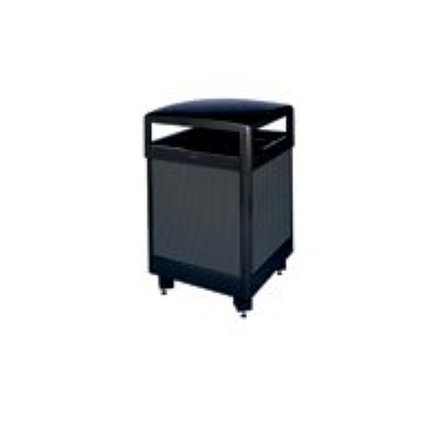 Rubbermaid FGR38HTSBKPL 38-gal Aspen Waste Receptacle - Hinged Top, Plastic Liner, Black