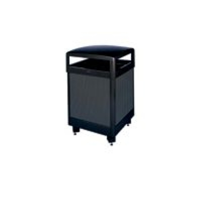 Rubbermaid FGR48HTSBKPL 48-gal Aspen Waste Receptacle - Hinged Top, Plastic Liner, Glacier Gray/Black