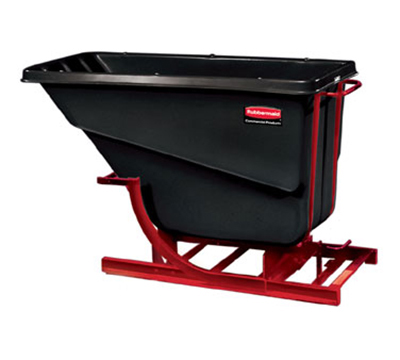 Rubbermaid FG106900 BLA Self-Dumping Hopper 2 cu yd Capacity (1000 lb) Tilt Forklift Capable Black Restaurant Supply