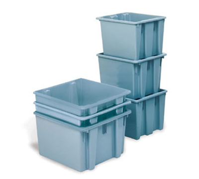 "Rubbermaid FG172100GRAY Palletote Box - 1-5/16 cu ft, 19-1/2x15-1/2x10"" Gray"