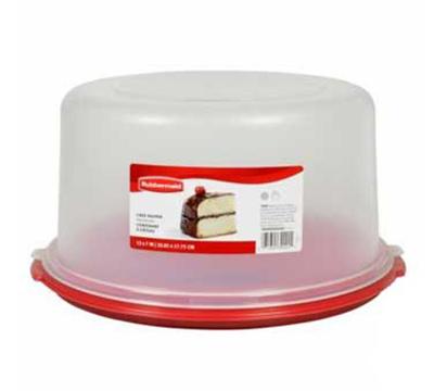 "Rubbermaid 1777191 10"" Cake/Pie Keeper - Clear Lid, White"