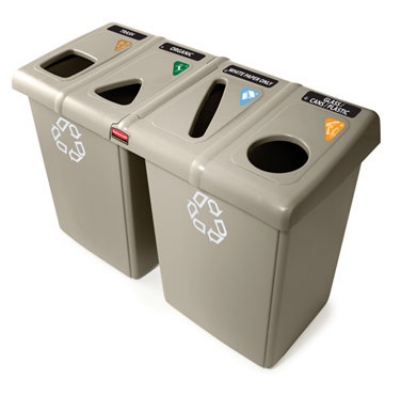 Rubbermaid 1792374 92-gal Glutton Recycling Station - (2)56-gal/(4)23-gal Containers, (8)Tops, Beige