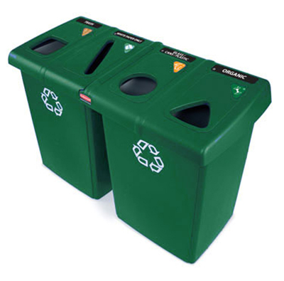Rubbermaid 1792373 92-gal Glutton Recycling Station - (2)56-gal/(4)23-gal Containers, (8)Tops, Green