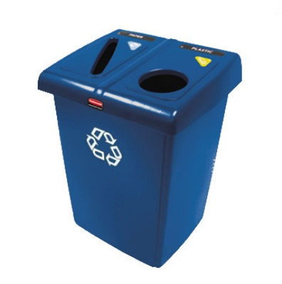 Rubbermaid 1792339 46-gal Glutton Recycling Station - 2-Stream, Hinged Lid, Blue