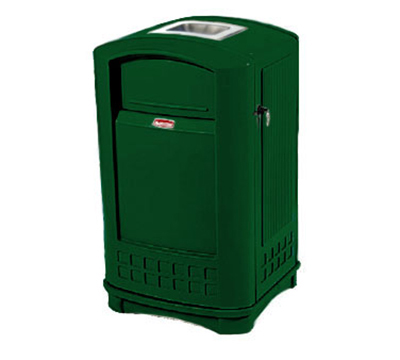 Rubbermaid FG396500DGRN 50-gal Plaza Container - Ashtray, Swing Door, Dark Green