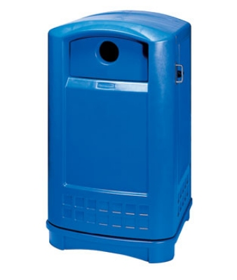 Rubbermaid FG396873 BLUE Plaza Bottle/Can Recycling Container - 24-3/4x22-1/4x42-1/8""