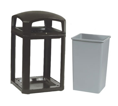 "Rubbermaid FG397088 BLA 35-gal Landmark Series Container - 26x26x40"" Dome Top, Lock Option, Black"