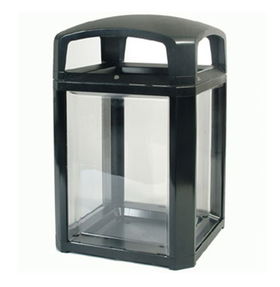 "Rubbermaid FG397589 BLA 50-gal Security Container - 26x26x46-1/2"" Dome Top Frame, Lock, Clear/Blac"