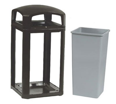 "Rubbermaid FG397500 BLA 50-gal Landmark Series Container - 26x26x46-1/2"" Dome Top Frame, Black"