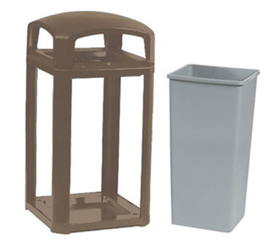 "Rubbermaid FG397500 SBLE 50-gal Landmark Series Container - 26x26x46-1/2"" Dome Top Frame, Sable"