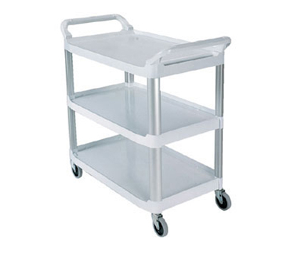 Rubbermaid FG409100OWHT Xtra Utility Cart - 3-Shelf, 300-lb Capacity, Open Sides, Off-White