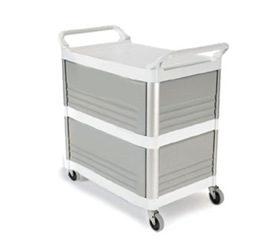 Rubbermaid FG409300OWHT Xtra Utility Cart - 3-Shelf, 300-lb Capacity, Enclosed, Off-White