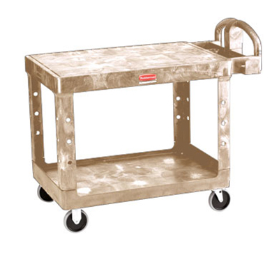 "Rubbermaid FG452500 BEIG Flat Shelf Utility Cart - 2-Shelf, 500-lb Capacity, 5"" TPR, Beige"