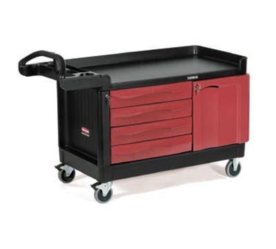 "Rubbermaid FG454888 BLA TradeMaster Mobile Cabinet - 4-Drawer 1-Door, 750-lb Capacity, 5"" Castors, Black"