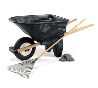 Rubbermaid FG565861 BLA Contractor Wheelbarrow - 6-1/2 cu ft Capacity, 1-Wheel, Black