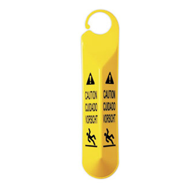 Rubbermaid FG611000 YEL Multi-Lingual Hanging Caution Sign - Falling Pers