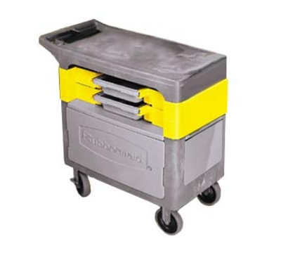 "Rubbermaid FG618088 BLA Trades Cart - 2-Shelf, 330-lb Capacity, 5"" Castors, Locking Cabinet, Black"