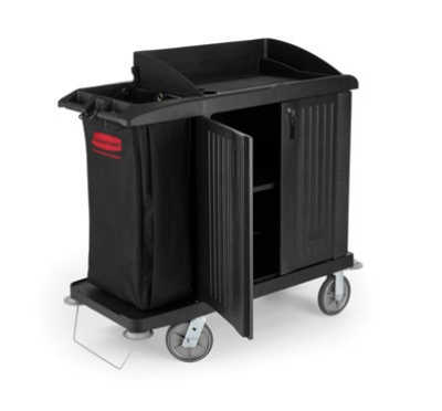 Rubbermaid FG619200 BLA Compact Housekeeping Cart - Doors, Black