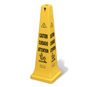 "Rubbermaid FG627600 YEL Multi-Lingual Safety Cone - Caution, 12-1/4x12-1/4x36"" Ye"