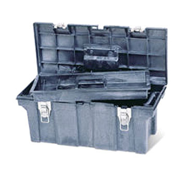 Rubbermaid FG780200 BLA Plastic Tool Box 26 in L x 11-1/2 in W x 11-1/8 in H Removable Trays Black Restaurant Supply