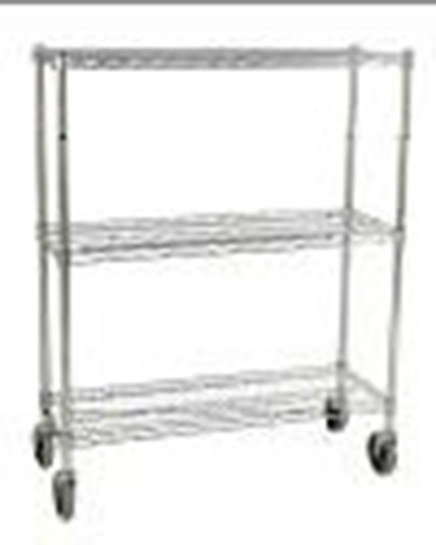 Rubbermaid FG9G7900 CHRM 3-Shelf Safety Storage Rack - 600-cup Capacity, 18x38x48-1/4
