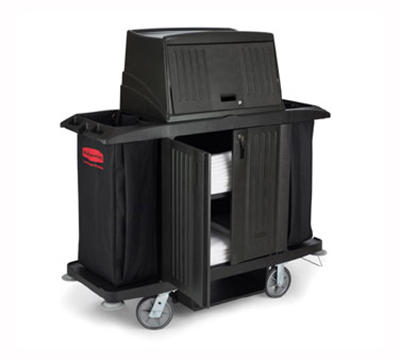 Rubbermaid FG9T1900 BLA Classic Housekeeping Cart with Doors
