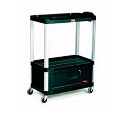 Rubbermaid FG9T3400 BLA 3-Shelf Audio-Visual Cart with Cabinet - 300-lb Capacity, Power Strip, Black