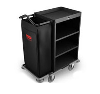 Rubbermaid FG9T6100 BLA Compact Housekeeping Cart - 3-Shelf, 8.8 cu ft Capacity, Black