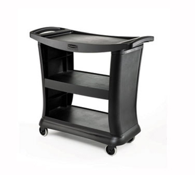 Rubbermaid FG9T6800 BLA 3-Shelf Service Cart - 300-lb Capacity, Black