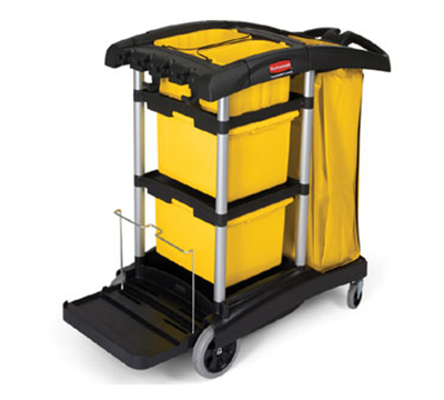 Rubbermaid FG9T7300 BLA Microfiber Cleaning Cart - Storage Bins, Vinyl Bag, Black
