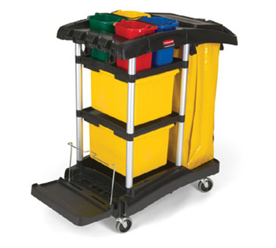 Rubbermaid FG9T7400 BLA Microfiber Cleaning Cart - Color-Coded Pails, Storage Bins, Vinyl Bag, Black
