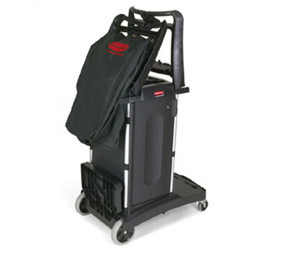 Rubbermaid FG9T7600 BLA High Capacity Compact Housekeeping Cart - Black