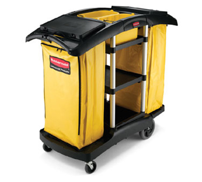 Rubbermaid FG9T7900 BLA Double Capacity Cleaning Cart - 5 cu ft, Lock 'N Go Attachment, Black