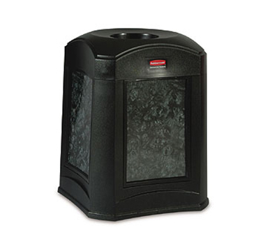 Rubbermaid FG9W0200 BLA 35-gal Landmark Funnel Top Trash Container - Panel Frame, Rigid Liner, Blac
