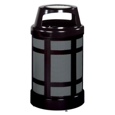 Rubbermaid FGA38SUBKPL 38-gal Architek Waste Receptacle - Canopy Hinged Urn Top, Black/Anthraci