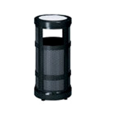 Rubbermaid FGA51SUBKPL 5-gal Architek Waste Receptacle - Canopy Hinged Urn Top, Black/Anth