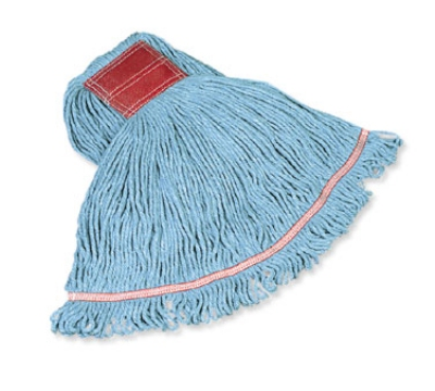 "Rubbermaid FGC11206 BL00 Looped-End Medium Wet Mop Head - 1"" Headband, 4-Ply Cotton/Synthetic, Blue"