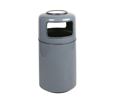 Rubbermaid FGFG1837SUPLLGR 20-gal Ash/Trash Receptacle - Covered Top, Fiberglass, Light Gray