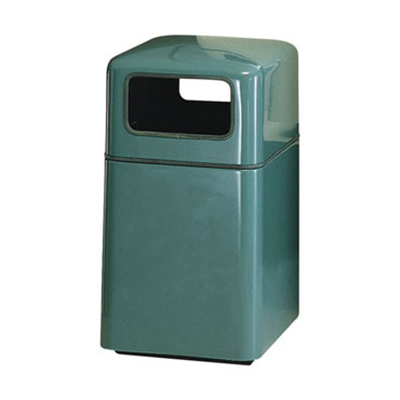 Rubbermaid FG2038SQPLEGN Waste Receptacle 29 Gallon 20 in Sq 37 in H Fiberglass In/Out Empire Green Restaurant Supply