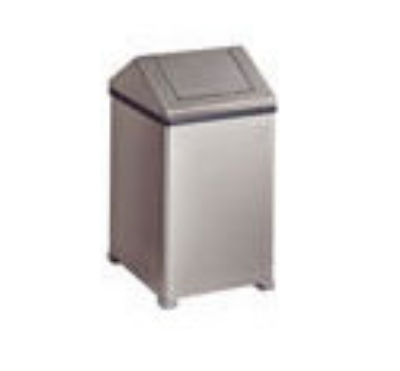 Rubbermaid FGT1414SSPL 10-1/2-gal Wastemaster Receptacle - Hinged Top, Plastic Liner, Stainless