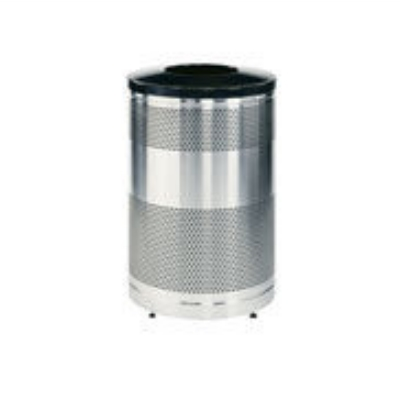 "Rubbermaid FGS55SSTBKPL 51-gal Recycling Receptacle - ""Cans or Bottles"" Drop Top, Plastic Liner, Bla"
