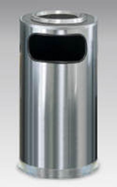 Rubbermaid FGSO16SUSSSGL 12-gal European Ash/Trash Receptacle - Galvanized Liner, Satin Stai