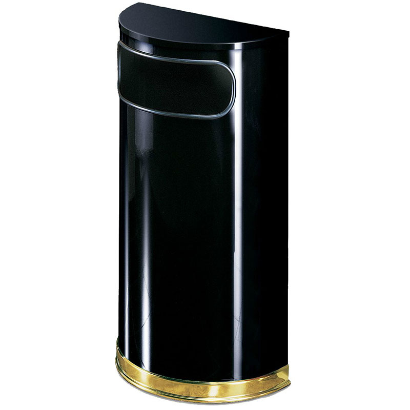 Rubbermaid FGSO810PLBK 9-gal European Half-Round Indoor Receptacle - Plastic Liner, Black